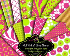 Pink Green Backgrounds, pink and green digital backgrounds, pink green digital paper, printable hot pink and lime green backgrounds. $6.00, via Etsy.