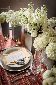 Beautiful table settings--cute little stuffed heart adornment