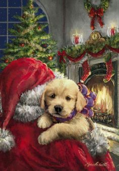 Heartwarming Christmas scene of Santa delivering a puppy. Somebody is going to have the best Christmas day yet! Printed on luxury paper napkins. Nice gift for the rabbit lover! Package of 20 Napkins Vintage Christmas Images, Old Fashioned Christmas, Christmas Scenes, Christmas Past, Christmas Animals, Christmas Pictures, Christmas Greetings, Winter Christmas, Christmas Puppy
