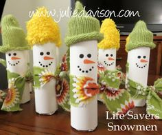 Julie's Stamping Spot -- Stampin' Up! http://juliedavison.blogspot.ca/#  the hats are fingers cut off a glove! whisper white card stock wrapped around lifesavers, piece of fabric or ribbon. Cute!