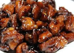 Bourbon Chicken A tangy, boneless chicken dish marinated and smothered in bourbon sauce. Ingredients: 1 lb. chicken leg or thigh meat, cut in bite-sized ch