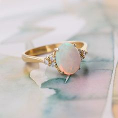 Dreamy opal & diamond engagement ring <3