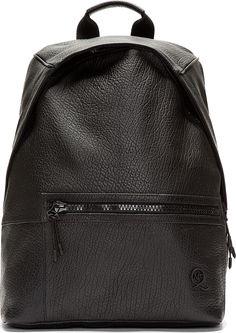 McQ Alexander Mcqueen - Black Grained Leather Backpack Borsone Da Viaggio 94756d0170b