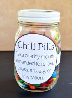 Chill Pills Candy in a Jar | 11 DIY Gifts for the Gemini Girl | http://www.hercampus.com/diy/parties-gifts/11-diy-gifts-gemini-girl