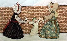 "#14  ""Bonnet Proportional Children & Borders""  Two girls pulling on a doll."