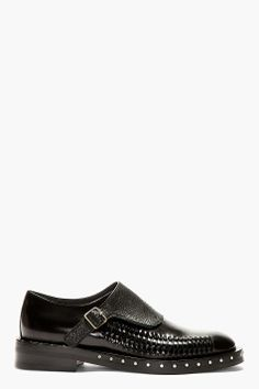 LANVIN Back Monk Strap Woven Accent Shoes