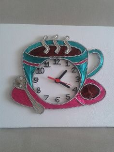 Evolution Of The Kitchen Clock - Good Foodi Guide String Art Diy, String Crafts, String Art Templates, String Art Patterns, Diy Crafts For Girls, Arts And Crafts, Thread Art, Fabric Painting, Art Projects