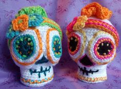 Sugar Skull Crochet Pattern Amigurumi Day of the Dead Halloween crochet ornament decor doll SugarSpun Skullz by CopperSlay Simply Crochet, Love Crochet, Hand Crochet, Knit Crochet, Crochet Patterns Amigurumi, Crochet Dolls, Crochet Skull, Sugar Skull Design, Crochet Ornaments