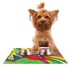 Kess InHouse Catherine Holcombe 'Psycho-Delic Dan' Feeding Mat for Pet Bowl, 18 by 13-Inch *** Want to know more, visit the site now : Cat items