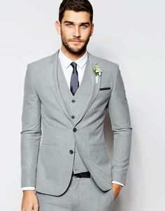 ASOS Wedding Super Skinny Suit Jacket In Grey
