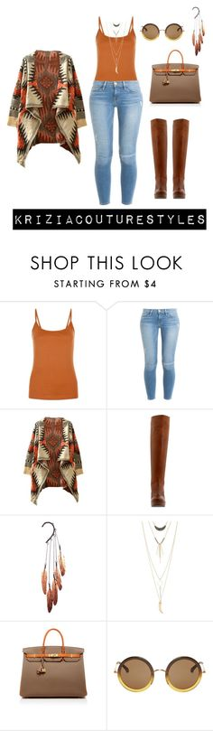 """""""Untitled #438"""" by kriziacouture ❤ liked on Polyvore featuring New Look, Frame Denim, WithChic, Stuart Weitzman, Anni Jürgenson, Charlotte Russe, Hermès and The Row"""