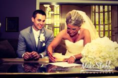 signing marriage license on the day of the wedding!