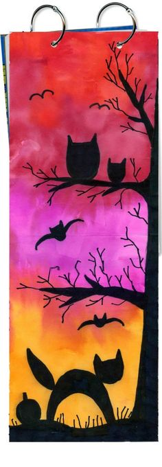 Halloween Sunset Painting Halloween Sunset Painting One Of The Easiest Ways To Plan A Halloween Painting For Kids Is Not To Paint At All Use Bleeding Tissue Paper Instead Halloween Sunset Painting Art Projects For Kids Halloween Art Projects, Fall Art Projects, Halloween Painting, Halloween Kids, Project Projects, Arte Elemental, Classe D'art, Tissue Paper Art, Collaborative Art Projects