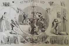St. Valentine's Day, c.1864 - Harper's Weekly Illustration - American Civil War - Vignettes of; Confederate & Union soldiers, wives of soldiers receiving Valentine greeting cards from Cupid, who is dressed as a soldier, and a sketch of Confederate President Jefferson Davis. ~ {cwl} ~ (Image: Prints old and rare)