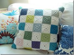 #crochet patchwork pillow by Cozy Made Things