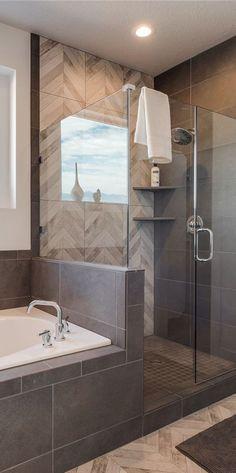 50 new ideas for bathroom shower design tile herringbone pattern Bathroom Renos, Bathroom Flooring, Bathroom Renovations, Home Remodeling, Bathroom Showers, Bathtub Tile, Tile Around Bathtub, Tub Faucet, Bathtub Remodel