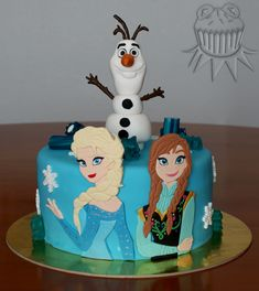 Frozen Cake. Olaf, Elsa and Anna's cake Tarta Frozen con Olaf, Elsa y Anna.