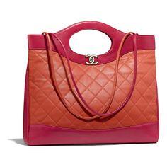 0169b94b3 Lambskin & Gold-Tone Metal Red & pink CHANEL 31 Large Shopping Bag