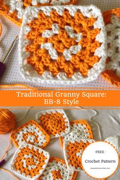 Traditional Granny Square | BB-8 Style | Free Crochet Pattern | Double Crochet
