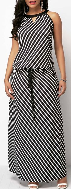Sleeveless Black Drawstring Waist Maxi Dress.