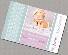Baby Girl Birth Announcement Photo Cards  by alittletreasure