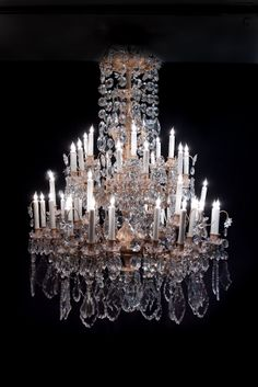 LA-5112  56''H 46''Diam French Louis XV style dore bronze and crystal. 19th century. 48 lights