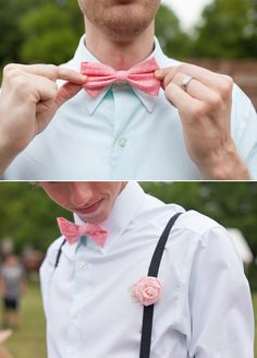 pink bow tie and rosette boutonniere Bowtie And Suspenders, Pink Bow Tie, Groom Dress, Bow Ties, Farm Wedding, Rosettes, Cat Lady, Real Weddings, Wedding Ideas