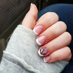 perfect French tip manicure with anchor for Navy bride! Nails!
