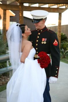 """Marine Love"" Military Wedding Picture"