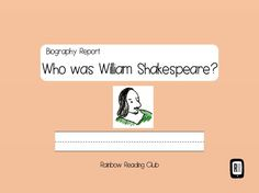 Biography Research Report / William Shakespeare Biography worksheet by MindtheGapShop on Etsy
