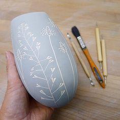 "145 Likes, 7 Comments - Jo Walker (@jowalkerceramics) on Instagram: ""Shepherd's Purse and Plantain. #stoneware #sgraffito #handbuilt #coiled #vase #vessel #wildflowers…"""