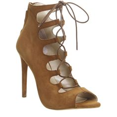 Office Parisian Lace Up High Heel Sandals ($47) ❤ liked on Polyvore featuring shoes, sandals, heels, high heels, tan kid suede, women, tan high heel sandals, high heel sandals, stiletto heel sandals and stilettos shoes