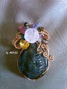 Special Request For Someone Special , Pendant Wire Coilling, Swarovsky, Gemstones made by NiO-EL
