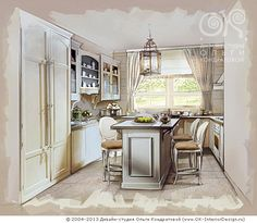 Интерьер кухни на даче  http://www.ok-interiordesign.ru/blog/wooden-houses-interior.html