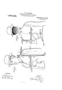 1918 Patent US1261452 - APPARATUS FOR MEASURING GARMENTS - Google Patents