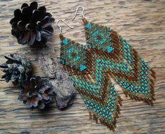 Cedarwood..Long Beaded Fringe Earrings Native by hoofandarrow