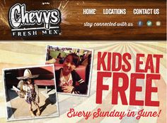 CHEVY'S $$ Kid's Eat FREE Every Sunday in June!