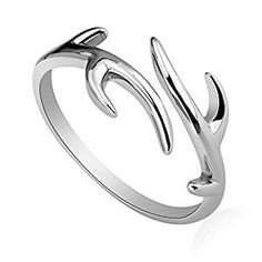 Amazon.com: Julie's Jewelry S925 sterling silver ring opening christmas snowflake antlers anti allergy ring: Jewelry