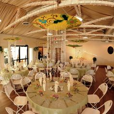 Umbrella Centerpieces. Would do but with a black ruffle umbrella and with battery operated crystal lights hanging.