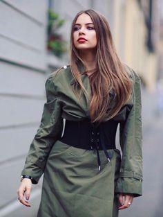 Green Outfit Ideas | Xenia | H E A T O N M I N D E D . C O M Xenia Tchoumitcheva, Leather Skirt, Leather Jacket, Different Styles, Corset, Military Jacket, London, Instagram Posts, Skirts
