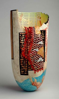 """Secret Garden"" Binh Pho -Box elder; maple, acrylic paint, dye- Wood carving and sculpture"