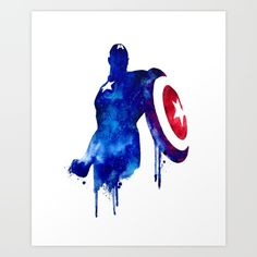 Captain America Watercolor Art Print - $19 - Marvel Home Decor Ideas!