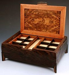 What options do you have for your quality handmade wooden jewelry box? Learn about the unique woods, hardware options, and styles of beautiful, quality, handcrafted jewelry boxes. Wooden Ring Box, Wooden Jewelry Boxes, Jewellery Boxes, Jewellery Storage, Wooden Boxes, Woodworking Jewellery Box, Woodworking Box, Handmade Jewelry Box, Diy Jewelry