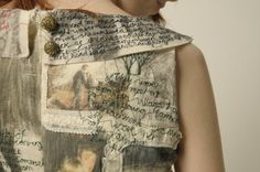 Narrative Dress by textile artist Harriet Popham | tells the story of her mother and father's  relationship | embroidery, applique and image transfer http://harrietpophamtextiles.tumblr.com/post/51631901718/harrietpophamaliceideas-narrative-dress