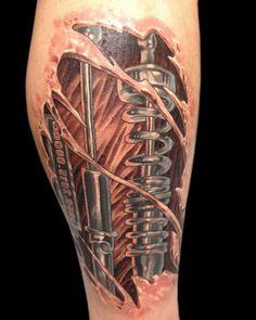 männer tattoos, 3d tätowierung am bein stechen lassen
