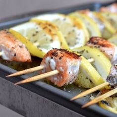Lemon Salmon Kebabs by fitfoodiefinds: Very simple with salmon, lemon, salt, pepper, and basil!  #Kebabs #Salmon #Lemon #Healthy #Easy