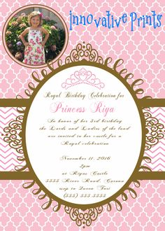 Princess Pink & Glitter Gold Birthday Invitation. Click on the image twice to place orders or follow me on facebook. or email me at the address in BIO.