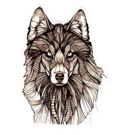 Loup grand tatouage temporaire par Atattood sur Etsy