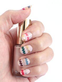 Zig-zag nails... using pinking shears and dried nail polish strips.