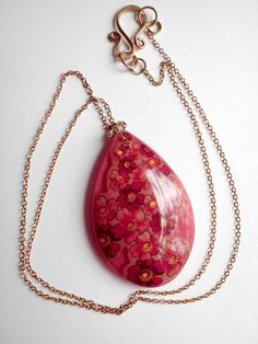 Necklace Pink Gold Blossoms Red and Pink Large Drop Shaped Pendant on 14k Gold Filled Chain Necklace, via Etsy.